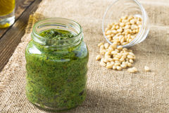 Pesto sauce and ingredients for pasta pesto Stock Image