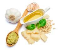 Pesto Sauce ingredients recipe with Basil on White Background Studio shot Stock Photo