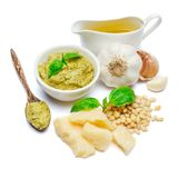 Pesto Sauce ingredients recipe with Basil on White Background Studio shot Stock Images