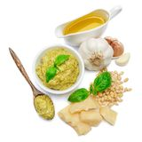 Pesto Sauce ingredients recipe with Basil on White Background Studio shot Stock Photography