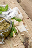 Pesto Sauce with ingredients Royalty Free Stock Photos