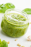 Pesto sauce jar Royalty Free Stock Photos
