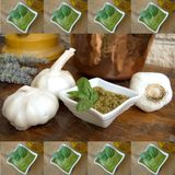 Pesto sauce picture frame Royalty Free Stock Photography