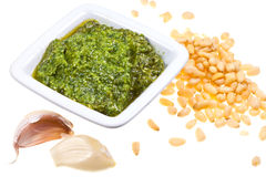 Pesto sauce with pine nuts Stock Images