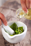 Pesto sauce preparation. In a mortar Royalty Free Stock Image
