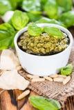 Pesto Sauce in a small bowl Stock Photos