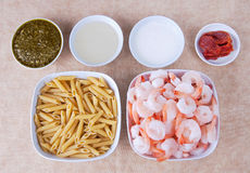Pesto shrimp ingredients Royalty Free Stock Images