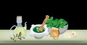 Pesto Soße lizenzfreie abbildung