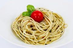 Pesto spagetti Arkivbilder