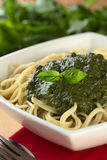 Pesto on Spaghetti Stock Photos