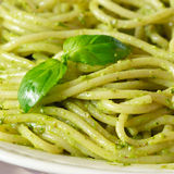 Pesto spaghetti. Royalty Free Stock Photo