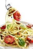Pesto and Tomato Spaghetti Stock Photo