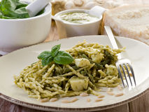 Pesto trofie typical genoa Stock Photos