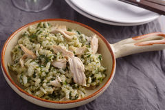 Pesto van kippenrisotto wiith stock afbeelding