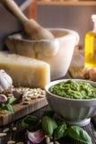 Pesto, włoski kumberland dla makaronu Fotografia Stock