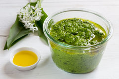 Pesto with wild garlic in a jar Royalty Free Stock Photo