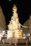 Pestsäule on Graben street in Vienna at night Royalty Free Stock Images