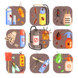 Pests And Measures For Their Extermination Set Royalty Free Stock Photography