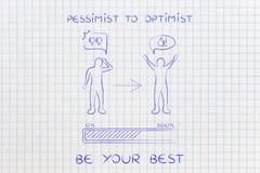 Pesymista optymista: odmienianie postawa, postępu b, prętowy & komiczny fotografia stock