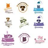 Pet που καλλωπίζει το σύνολο λογότυπων ελεύθερη απεικόνιση δικαιώματος