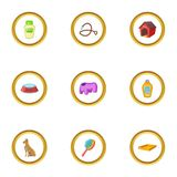 Pet accessory icons set, cartoon style Stock Photography