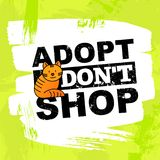 Pet adoption concept: adopt, don`t shop. Thin line icon of red cat. Modern vector illustration on bright background stock illustration