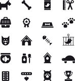 Pet and animal icons. Set of black and white icons relating to animals and pets Stock Photos