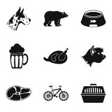 Pet animal icons set, simple style. Pet animal icons set. Simple set of 9 pet animal vector icons for web isolated on white background Stock Photo