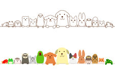 Pet animals border set Stock Photo