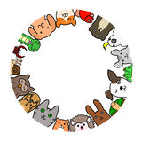 Pet animals in circle Royalty Free Stock Image