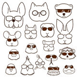 Pet animals faces with glasses set Stock Photo