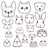 Pet animals faces line art set. Cute pet animals faces line art set Royalty Free Stock Photo