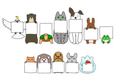 Pet animals in line with white cards. Several Pet animals in line with white boards Royalty Free Stock Photography