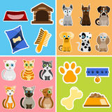 Pet animals and objects. Illustrationvector Royalty Free Stock Photos