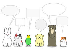 Pet animals in a row with speech bubbles.  Stock Image
