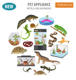 Pet appliance icon set flat style isolated on white. Reptiles an Royalty Free Stock Image