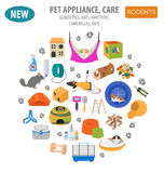 Pet appliance icon set flat style isolated on white. Rodents car. E collection. Create own infographic about guinea pig, rat, hamster, chinchilla, mouse, rabbit Royalty Free Stock Image