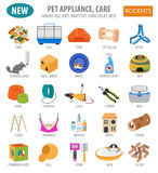 Pet appliance icon set flat style isolated on white. Rodents car. E collection. Create own infographic about guinea pig, rat, hamster, chinchilla, mouse, rabbit Stock Images