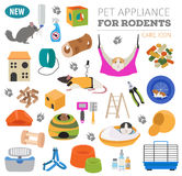 Pet appliance icon set flat style isolated on white. Rodents car. E collection. Create own infographic about guinea pig, rat, hamster, chinchilla, mouse, rabbit Royalty Free Stock Photo