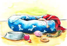 Pet bed. Blue pet bed and toys.Picture I have created with watercolors Royalty Free Stock Image