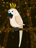 Pet bird Cockatoo on jungle forest background. In vector royalty free illustration