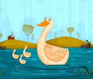 Pet bird Duck floating on river background. In vector in vector Royalty Free Stock Photo