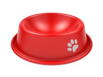 Pet Bowl. Red Pet Bowl Isolated on White Background Royalty Free Stock Photography