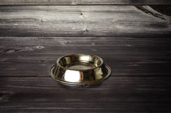 Pet Bowl feed. Empty silver Pet Bowl feed Royalty Free Stock Photo