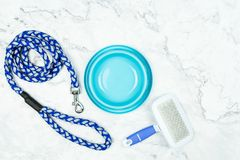 Pet bowl, leashes, and toy for dog. stock photography