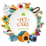 Pet Care  Accessories Round Frame Illustration. Pet care supply accessories and products decorative round frame composition with kennel doghouse and birdcage Stock Photo