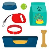 Pet care accessory, set. Collar, bone, bowl, food, ball, a deckchair. Flat style  illustration, isolated. Pet care accessory, set. Pet carrier, collar, bone Stock Photos