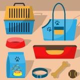 Pet care accessory, set. Pet carrier, collar, bone, bowl, food, ball, a deckchair. Flat style  illustration, isolated. Pet care accessory, set. Pet carrier Royalty Free Stock Image