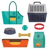 Pet care accessory, set. Pet carrier, collar, bone, bowl, food, ball, a deckchair. Flat style  illustration, isolated. Pet care accessory, set. Pet carrier Stock Image
