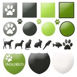 Pet Care Buttons. A collection of pet care related buttons and seals Stock Image